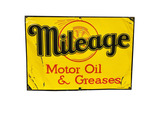 1930S MILEAGE MOTOR OIL AND GREASES EMBOSSED TIN SIGN