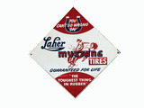 1950S LAHER MUSTANG TIRES TIN SIGN
