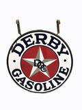 1930S DERBY OIL GASOLINE PORCELAIN SIGN