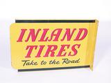 CIRCA 1952 INLAND TIRES TIN FLANGE SIGN