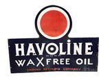 1930S HAVOLINE OIL PORCELAIN SIGN