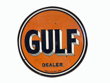 1930S GULF OIL DEALER PORCELAIN SIGN