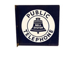 1940S PUBLIC TELEPHONE PORCELAIN FLANGE SIGN