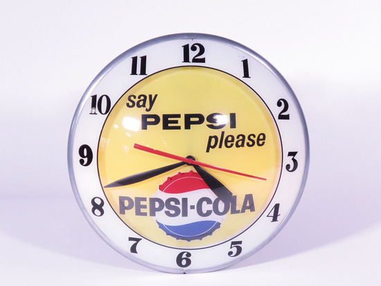 EARLY 1960S PEPSI-COLA DOUBLE-BUBBLE LIGHT-UP CLOCK