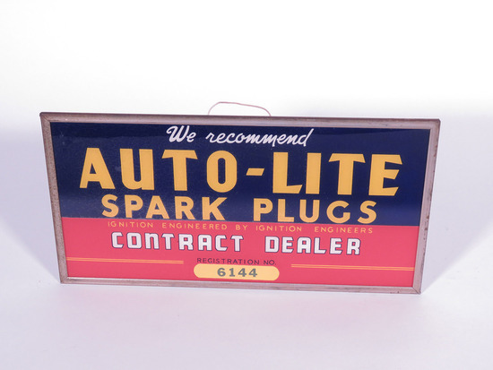 Choice 1940s Auto-Lite Spark Plugs single-sided metal-framed glass garage sign.