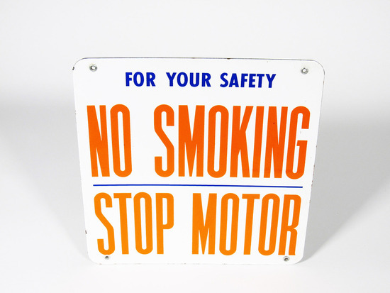 "1950S UNION 76 OIL ""NO SMOKING - STOP MOTOR"" PORCELAIN SIGN"