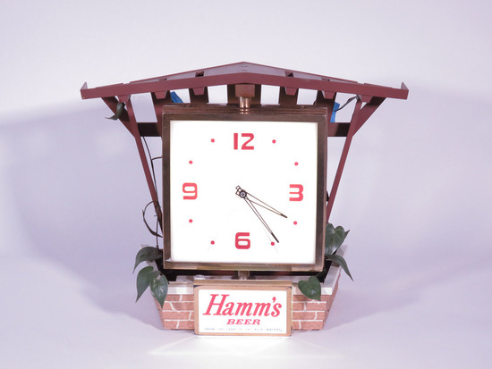 CIRCA EARLY 1960S HAMM'S BEER ROTATING CLOCK SIGN
