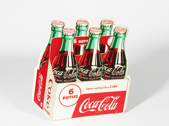 1956 COCA-COLA SIX-PACK TIN SIGN