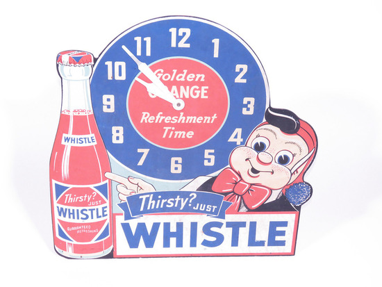 1940S WHISTLE ORANGE SODA CLOCK