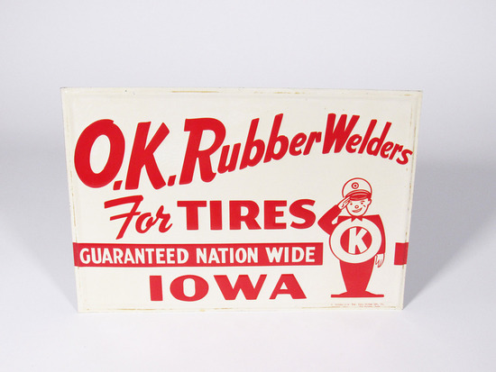 OK RUBBER WELDERS EMBOSSED TIN SIGN