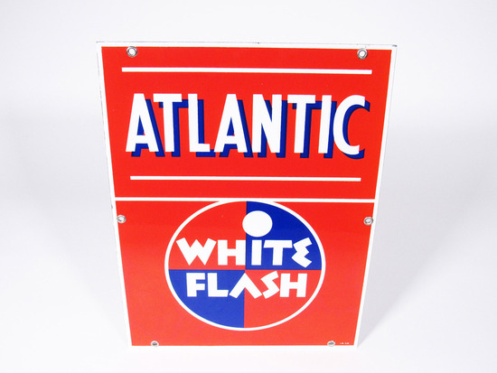 1950 ATLANTIC WHITE FLASH GASOLINE PORCELAIN PUMP PLATE SIGN
