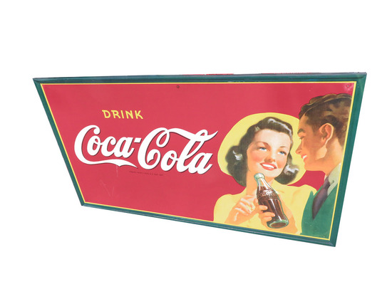 LARGE 1940S COCA-COLA TIN SIGN