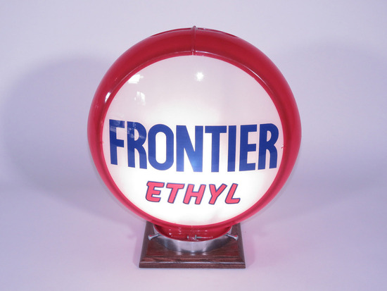 CIRCA LATE 1940S-EARLY '50S FRONTIER OIL ETHYL GASOLINE GAS PUMP GLOBE
