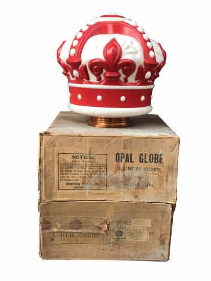 1940S-50S STANDARD OIL RED CROWN GASOLINE GAS PUMP GLOBE