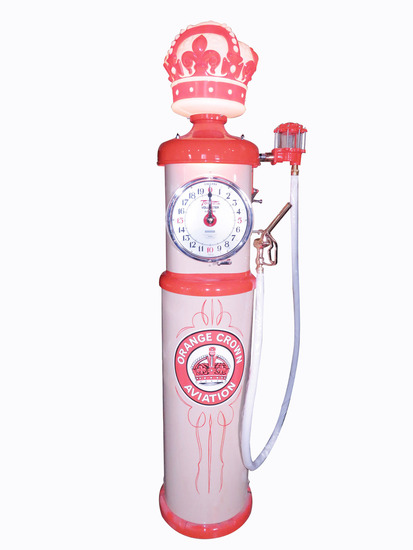 STANDARD OIL ORANGE CROWN AVIATION GASOLINE CLOCK-FACE GAS PUMP