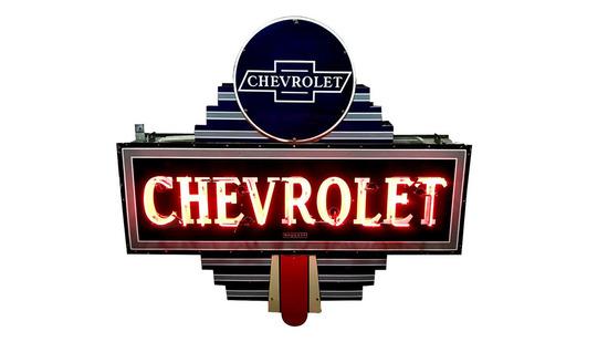 1930S CHEVROLET AUTOMOBILES NEON PORCELAIN SIGN