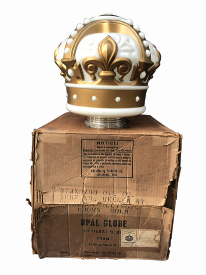 1940S-50S STANDARD OIL GOLD CROWN GASOLINE GAS PUMP GLOBE