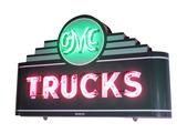 CIRCA 1940S GMC TRUCKS NEON PORCELAIN SIGN