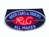 1940S-50S FORD R&G USED CARS AND TRUCKS PORCELAIN NEON SIGN