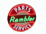 LATE 1950S RAMBLER PARTS-SERVICE PORCELAIN WITH NEON SIGN
