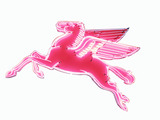 1951 MOBIL OIL LEFT-FACING PEGASUS PORCELAIN SIGN WITH ANIMATED NEON
