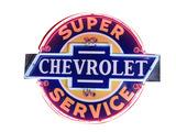 1940S CHEVROLET SUPER SERVICE NEON PORCELAIN SIGN
