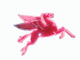 1955 MOBIL OIL RIGHT-FACING PEGASUS PORCELAIN WITH ANIMATED NEON SIGN