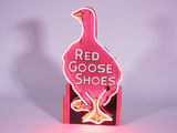 1930S RED GOOSE SHOES NEON PORCELAIN COUNTERTOP SIGN