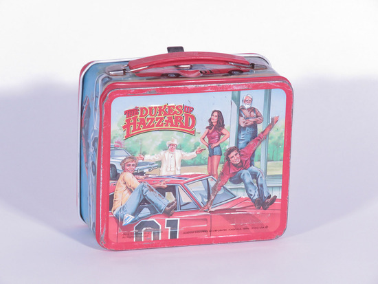 """1980S """"THE DUKES OF HAZZARD"""" METAL EMBOSSED LUNCH BOX"""