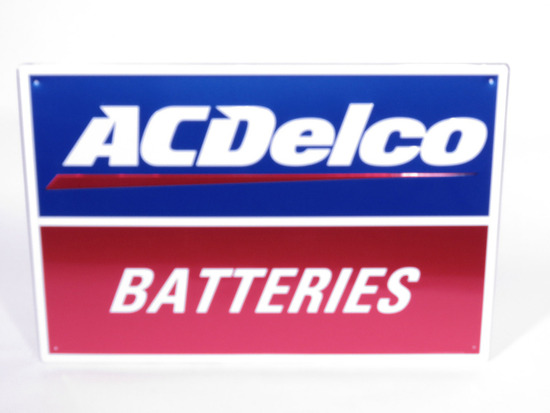 VINTAGE AC DELCO BATTERIES EMBOSSED TIN SIGN