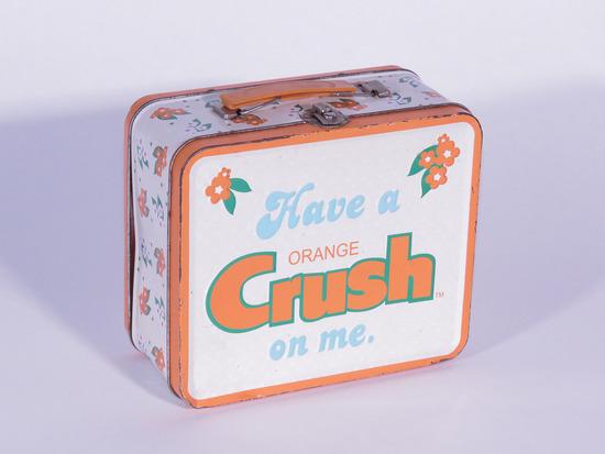 1970S ORANGE CRUSH EMBOSSED METAL LUNCH BOX