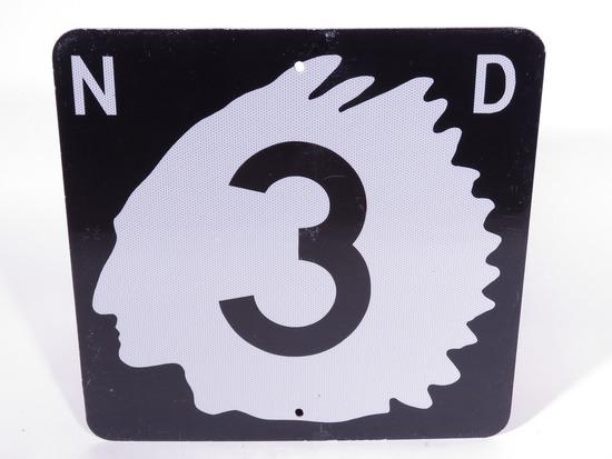 VINTAGE NORTH DAKOTA HIGHWAY #3 METAL ROAD SIGN