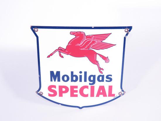 1947 MOBILGAS SPECIAL PORCELAIN PUMP PLATE SIGN