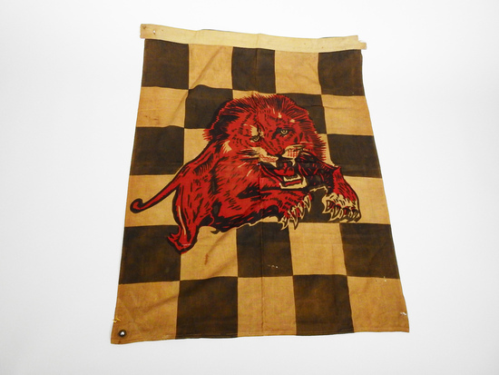 CIRCA 1930S-40S GILMORE OIL CHECKERED RACING FLAG
