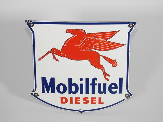 1957 MOBILFUEL DIESEL PORCELAIN PUMP PLATE SIGN
