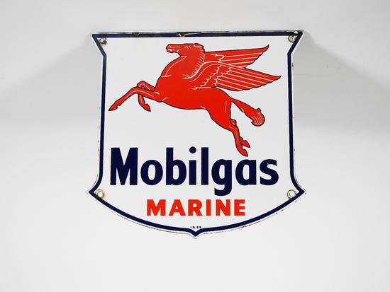 1955 MOBILGAS MARINE PORCELAIN PUMP PLATE SIGN