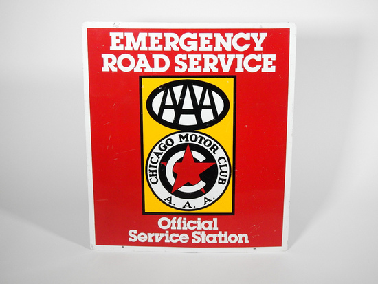 LATE 1970S CHICAGO MOTOR CLUB - AAA EMERGENCY SERVICE TIN SIGN