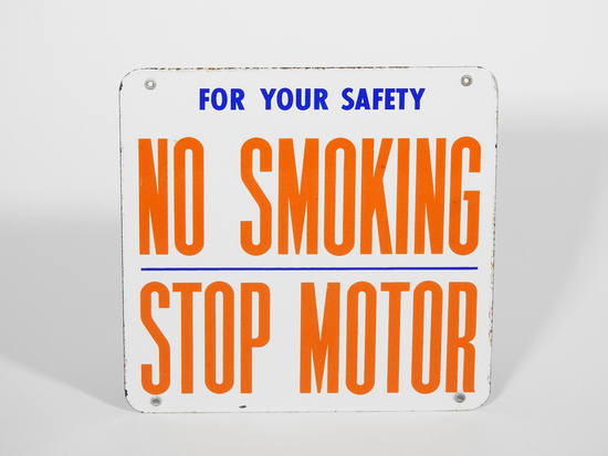 """1950S UNION 76 OIL COMPANY """"NO SMOKING - STOP MOTOR"""" PORCELAIN SIGN"""