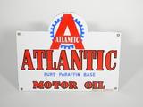1930S ATLANTIC MOTOR OIL EMBOSSED PORCELAIN SIGN