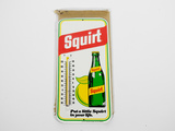 1977 SQUIRT SODA EMBOSSED TIN THERMOMETER