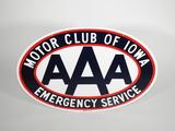 CIRCA 1950S-60S AAA MOTOR CLUB OF IOWA PORCELAIN SIGN