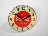 1950S COCA-COLA GLASS-FACED LIGHT-UP CLOCK