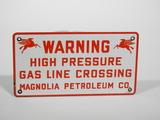 1956 MOBIL MAGNOLIA PETROLEUM COMPANY GAS LINE PORCELAIN SIGN