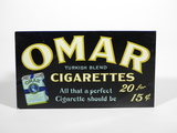 1920S-30S OMAR CIGARETTES EMBOSSED TIN SIGN