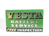 CIRCA 1930S VESTA BATTERY SERVICE EMBOSSED TIN SIGN