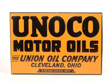 1930S UNOCO MOTOR OILS EMBOSSED TIN SIGN