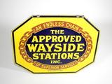 1927 APPROVED WAYSIDE STATIONS PORCELAIN SIGN