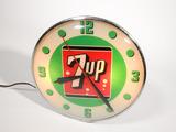 Sharp 1960 7-up Soda glass-faced light-up diner clock.