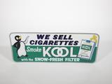 Wonderful 1960s Kool Cigarettes single-sided tin sign with whimsical Kool penguin graphic.