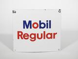 1960s Mobil Regular single-sided porcelain pump plate sign.